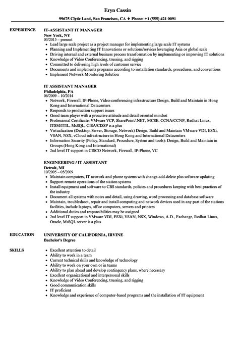 Resume For by It Assistant Resume Sles Velvet