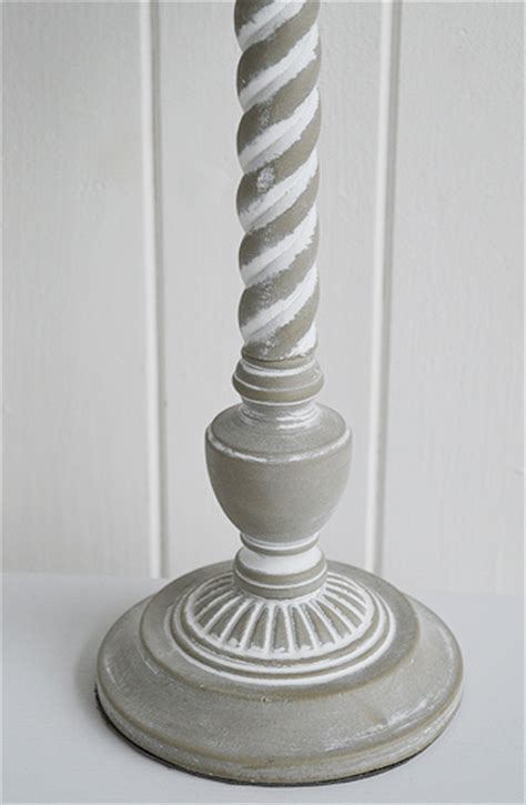 grey wooden twist table lamp  white lighthouse
