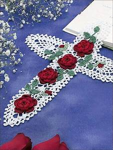 Pineapple Cross with Red Roses -- Free Crochet Doily Pattern