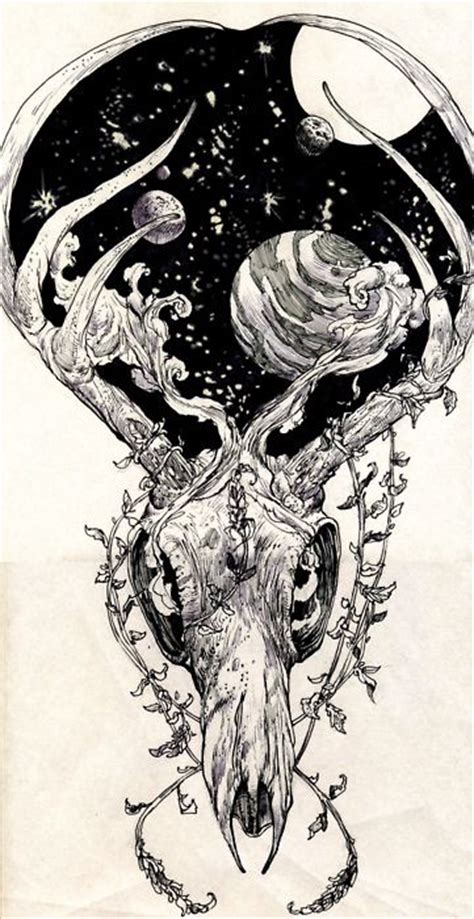 primal natural nature skull tattoo drawing space