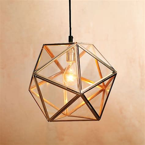 west elm faceted glass pendant l light unmessyhome