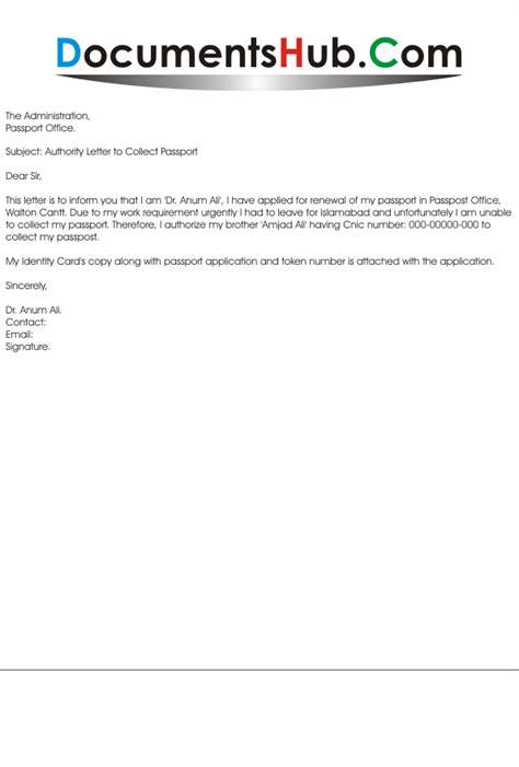 authorit y letter  collect passport documentshubcom
