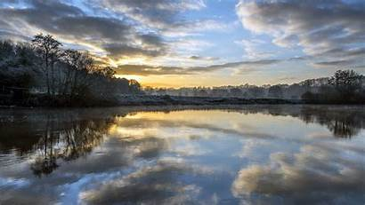 Reflection Dawn Trees Clouds Background Widescreen 4k