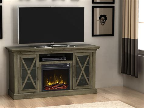 electric fireplace media console charles electric fireplace media console in gray