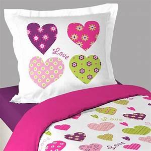 Housse De Couette Petite Fille : housse de couette love coeur taie d 39 oreiller http www ~ Melissatoandfro.com Idées de Décoration
