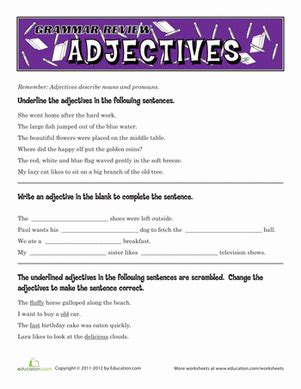 grammar review adjectives worksheet education