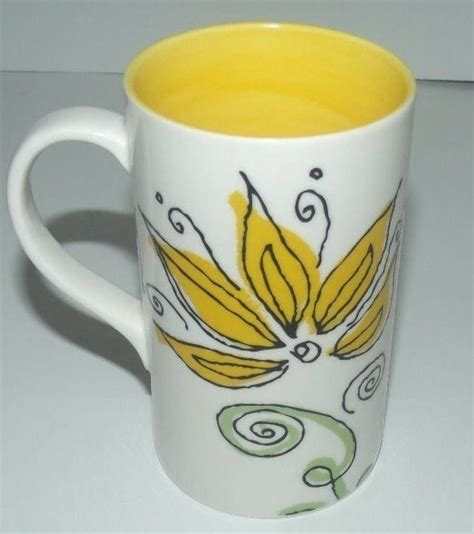 floral coffee mugs starbucks coffee mug latte cup 2006 floral yellow flower 1019