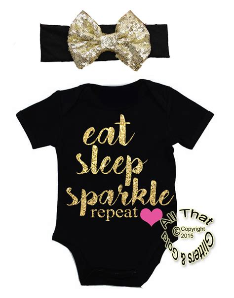 Cute Baby Girl Clothes Outfits - Eat Sleep Sparkle Glitter