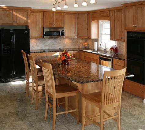 eat in island kitchen alder wood cabinets kitchen
