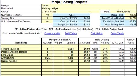 plate cost   calculate recipe cost chefs resources