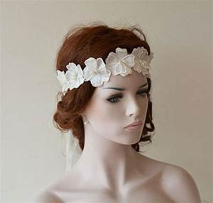 Wedding Headband Wedding Pearl Flower Headband Bridal