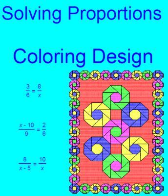 Solving Proportions  Coloring Activity From Mariedompierre On Teachersnotebookcom  (5 Pages
