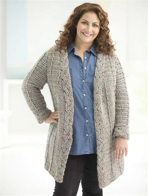 cable cardigan sweater curvy cable crochet cardigan allfreecrochet com