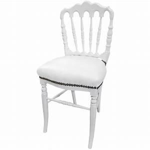 Chaise En Bois Blanc : chaise de style napol on iii simili cuir blanc et bois blanc ~ Teatrodelosmanantiales.com Idées de Décoration