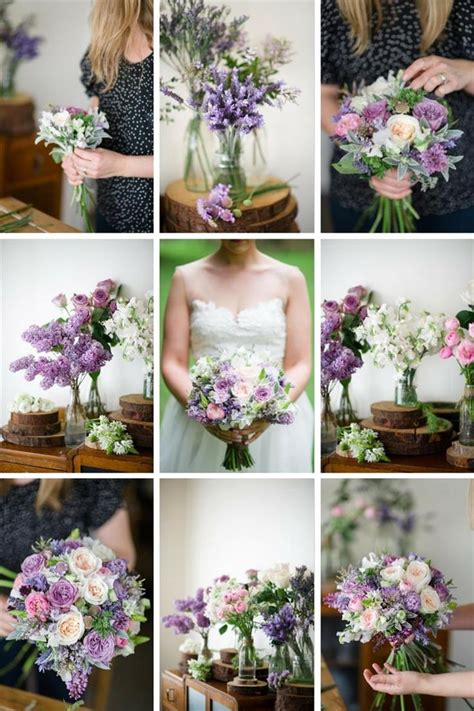 A Romantic Spring Bridal Bouquet In Purple And Pink