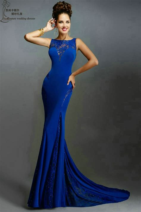 Long Prom Dresses PM996 Sexy Beading Open Back Mermaid Royal Blue Party Dresses Elegant Women ...