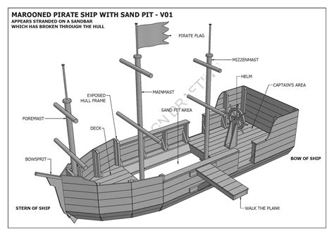 marooned pirate boat  sand pit cubby play house