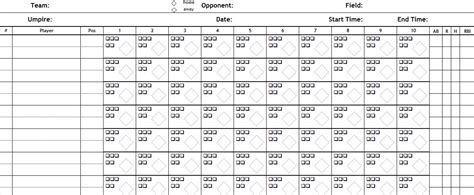 printable blank scorecard  baseball