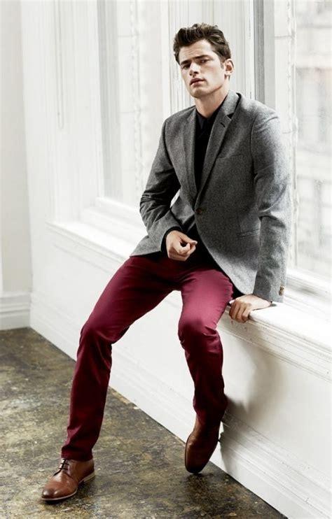 Menu0026#39;s fashion. Burgundy pants. Grey blazer. Brown shoes. | Clothes | Pinterest | Blazers Pants ...