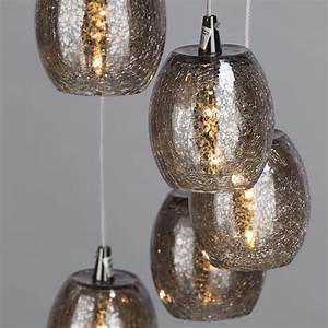 Light circular ceiling pendant cluster with crackled