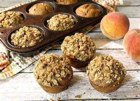 Healthy Peach Breakfast Muffins Sweet Spicy Monkey