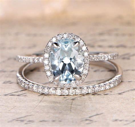 oval aquamarine engagement ring sets pave diamond wedding