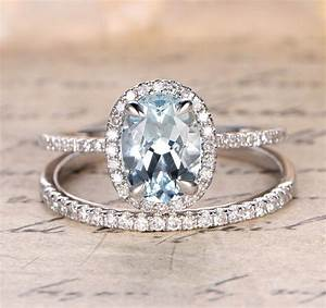 Oval aquamarine engagement ring sets pave diamond wedding for Aquamarine wedding set rings