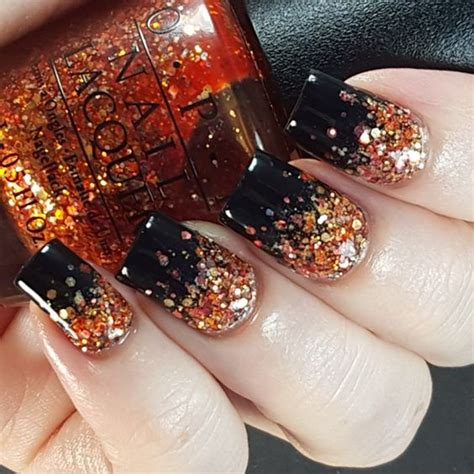 picture  halloween glitter gradient nail art