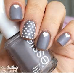 Gray matters of the heart nails nail design art essie polish polka dots pop miss
