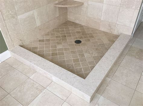 traditional botticino marble shower floor tile