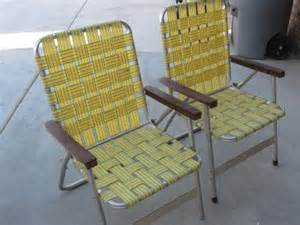 vintage 2 pair retro webbed aluminum high back folding lawn c chairs ebay