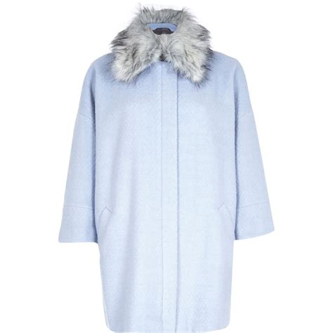light blue faux fur coat river island light blue faux fur collar oversized coat in
