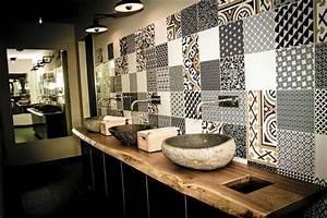 carrelage colore salle de bain - carrelage design l inspiration g om trique pour la salle
