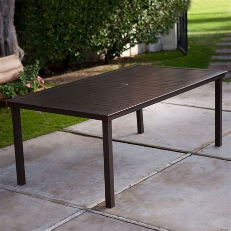 picnic table with umbrella hole rectangular x inch patio dining table in mocha brown with