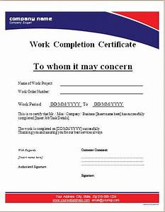 Work pletion Certificate Templates for MS WORD Word & Excel Templates