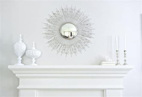 silver sunburst mirror transitional living room benjamin moore balboa mist studio mcgee