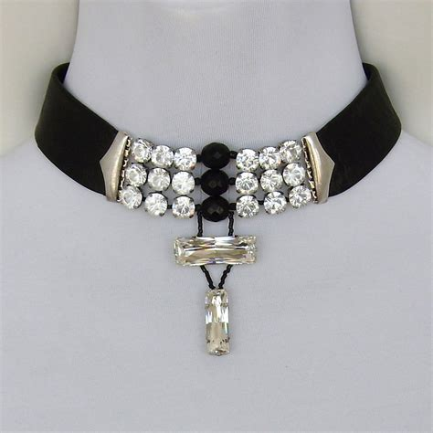 black leather choker swarovski rhinestones crystal beads silver clasp yifat aharoni romantic