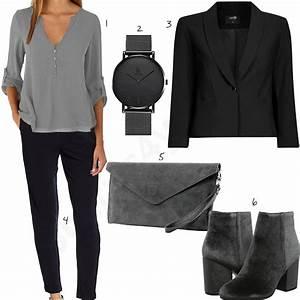 Sportlich Elegante Outfits Damen : elegantes business outfit f r damen in schwarz grau ~ Frokenaadalensverden.com Haus und Dekorationen