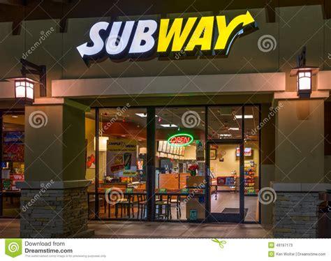 franchise cuisine subway restaurant exterior editorial stock photo image