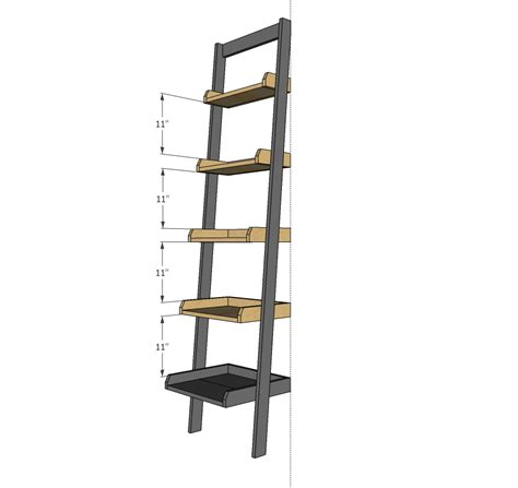 how to build a wall bookcase step by step ana white leaning ladder wall bookshelf diy projects