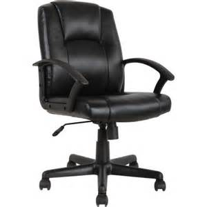 mainstays mid back leather office chair black walmart com