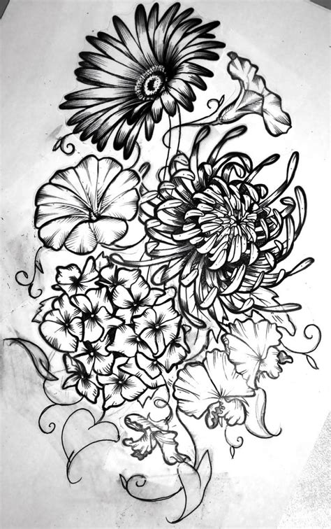 Birth month flowers combined | Tattoo Ideas | Pinterest