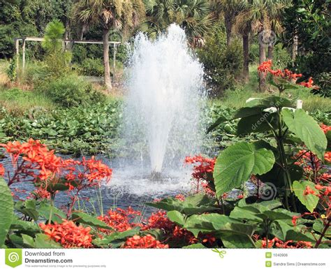 Serenity Gardens Largo Fl by Bubbling Fountain Royalty Free Stock Image Image 1040906