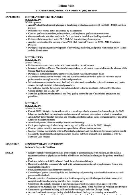 Dietitian Resume by Dietitian Resume Sles Velvet