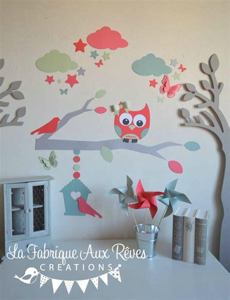 stickers hibou chambre bébé stickers décoration chambre enfant fille bébé branche cage