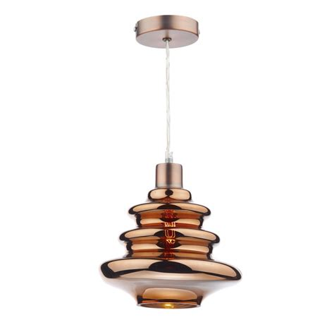 decorative copper glass easy fit pendant shade