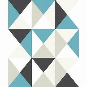 Papier Peint Motif Geometrique : papier peint support intiss polygone bleu achat vente ~ Dailycaller-alerts.com Idées de Décoration
