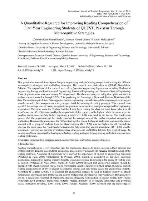 (pdf) A Quantitative Research For Improving Reading Comprehension Of First Year Engineering