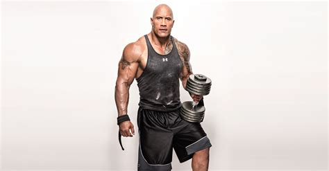 wallpaper dwayne johnson  rock weights workout