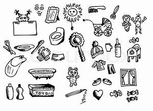 Hand Drawn Baby Icons Isolated On The White Background